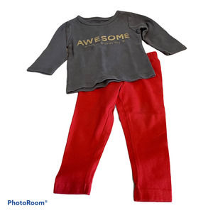 Carter's 12M Outfit Grey shirt/Red Pants